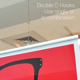 12 inch double c hookk ceiling sign holder, DBC-12