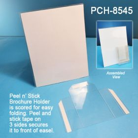 Unassembled Easel Sign Holder with Fold, Peel & Stick Brochure Pocket, PCH-8545