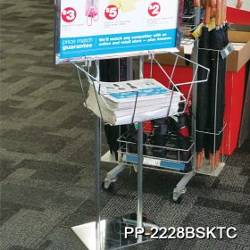 chrome floor banner stand with brochure basket, PP-2228BSKTC