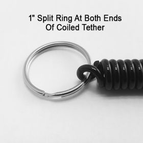Coiled Tether lanyard with Split Ring ends, SLT-001-1