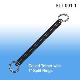 Coiled Tether with Two Split Rings, SLT-001-1, lanyard