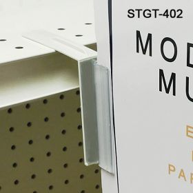 perforated shelf top sign holder with flexible hinge, stgt-402