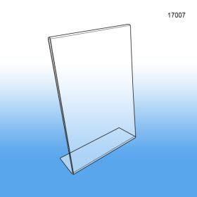"Slant back easel sign holders, countertop, acrylic, 5"" x 7"", Item # 17007"