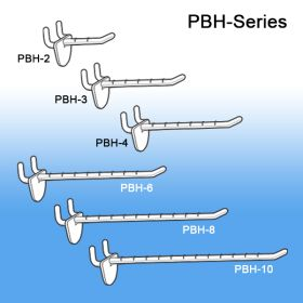 "4"" Peg Board and Slatwall Display Hook, PBH-4"