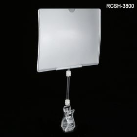 clip on sign holder with extended stem, and print protector, RCSH-3800