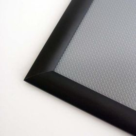 corner view of black mitred snap frame