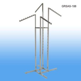 Garment Rack with 4 Slanted Arms and Square Tubing, Chrome, GRSAS-188