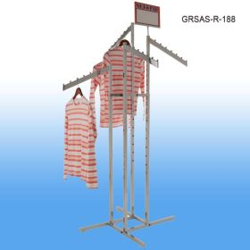 Garment Rack with 4 Slanted Arms and Square and Rectangular Tubing, 8 balls per arm, GRSAS-R-188
