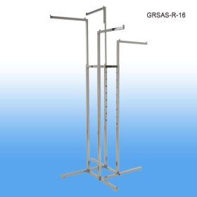 Garment Rack with 4 Straight Arms and Square & Rectangular Tubing, Chrome, GRSAS-R-16