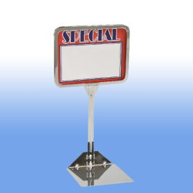 "7"" wide x 5.5"" tall sign holder, with 10"" stem, Chrome, PCSF-57-10"