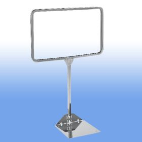"""11"""" Wide x 7"""" High Chrome Sign Frame with 10"""" stem height, PCSF-711-10"""