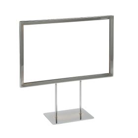 "11"" Wide x 7"" High Premium Chrome Sign Frame with 2 - 4"" Stems and a 5"" Flat Base, PCSF-711-4"