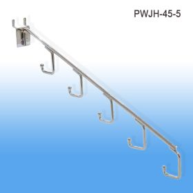 pegboard waterfall j hook, 5 hooks, chrome, PWJH-45-5
