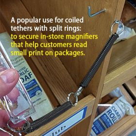 Coiled security tether with split rings,SLT-001-1
