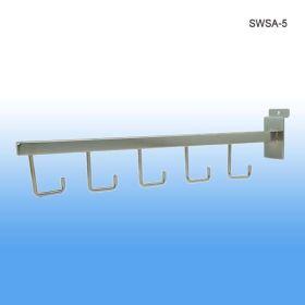 Slatwall straight arm, 5 hooks, SWSA-5C