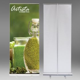 "Retractable Banner Stand, with 10 mil Custom Printed Vinyl Sign, 33"" x 80"", RBS-P-3380"