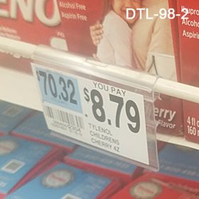 Data and Price label holder, DTL-98-2, fits on standard sized T-Scan end of metal display and peg hooks or wire brackets.