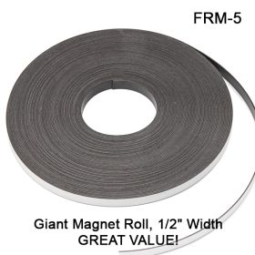 """Easy to Use, Peel & Stick 1/2"""" Wide x 1/16"""" Thick x 5"""" Long sliced Magnet Roll, FRM-5"""