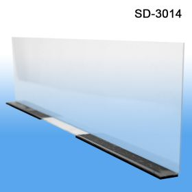 "Transparent 3"" x 13-9/16"" Econo-Line Shelf Divider, Magnetic Mount, Item# MSD-3014"