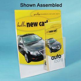 """Cardboard Easel Back 8.5 x 11 Sign Holder with 4"""" wide Fold, Peel & Stick Brochure Pocket, PCH-8545"""