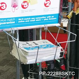Rust resistent chrome floor banner stand with brochure basket, PP-2228BSKTC