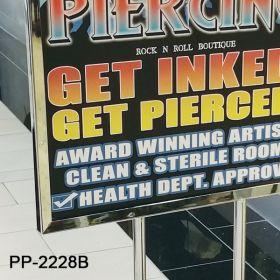 Slide-in poster floor banner stand chrome, PP-2228