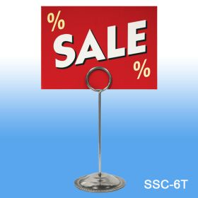 6.0' Tall Stainless Steel Sign & Card Holder, SSC-6T