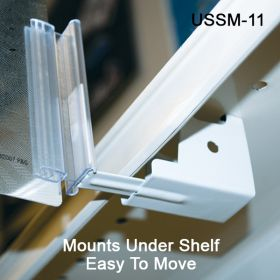 Easy to Mount and Easy to Move, Under Shelf Spring-Mount Grip-Tite™ Sign Holder, with Hinge, USSM-11