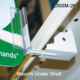 Holds Sign in Flag Position, Under Shelf Spring-Mount Grip-Tite™ Sign Holder, USSM-26