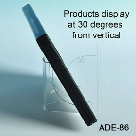 Displays at 30 degrees, acrylic display easel, ADE-86