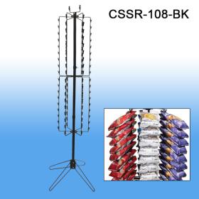 Black, Clip Strip® Brand, Floor Standing Spinner Snack Rack, 108 Clips, CSSR-108-BK