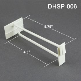 "Plastic 6"" display hook with scan plate, for corrugated displays, DHSP-006"
