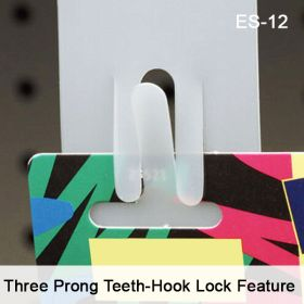 Merchandising Strip with Three Prong Teeth Hook Lock Feature, ES-12