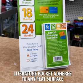 "literature holder pocket at 4"" wide , adheres to backer, FLBX-4512"