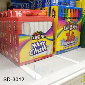 "Transparent Plastic Shelf Divider, Peel and Stick, 3"" x 12"", SD-3012"