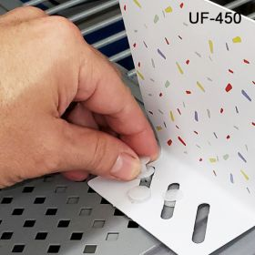easy to Install Fastener for gondola metal shelf perforations, regular profile, UF-451