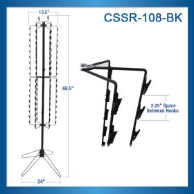 Clip Strip Corp. Brand Floor Stand Spinner Snack Rack, Black, 108 Clips, CSSR-108-BK