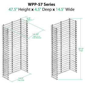 Wire Power Panel Wing, Dimensions, WPP-57